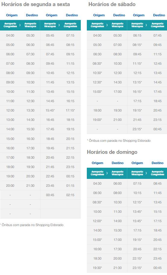Confira os horários dos ônibus: Congonhas